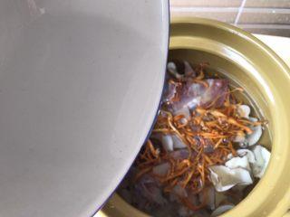响螺虫草花老鸽汤,加入清水