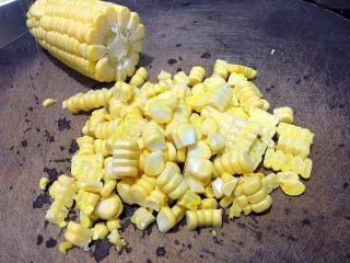 奶香玉米汁,玉米取粒,我用刀切省事😜