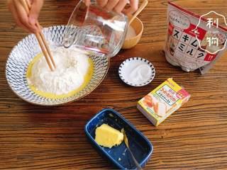 幸福小餐包,将高筋面粉 ,奶粉 ,砂糖 ,盐 和干酵母 倒入碗中,加入全蛋液 ,边搅拌边加水 。搅拌至没有干粉,静置15分钟,让面粉充分吸水。