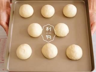 幸福小餐包,一次发酵完成后,轻拍面团排出气体,平均分成8分,揉成球,放到不沾烤盘上。