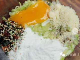 西葫芦饼,将西葫芦的汁水挤干,加入鸡蛋 ,面粉 ,白胡椒粉 ,芝士粉(可不放) ,味岛香松(可不放) ,混合均匀。