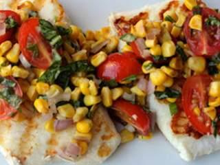 小番茄玉米烤比目鱼色拉