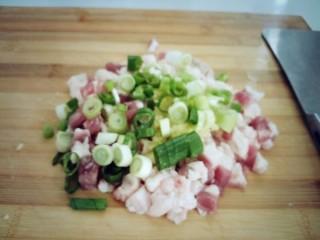 南瓜猪肉豇豆包子,切好的葱姜放在猪肉陷上聚续剁陷。