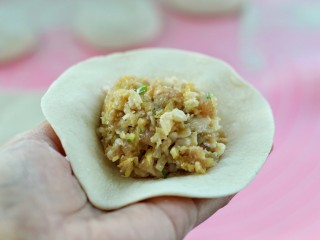 东北猪肉酸菜馅包子,取一个饼皮放上适量馅料