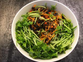 凉拌杂菜,将粉丝,肉丝,黑木耳胡萝卜,胡萝卜,香菜放入大碗中