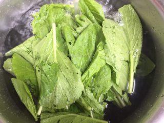 彩色皮冻,先将芥菜叶洗净
