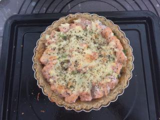 三文鱼牛油果土豆丝披萨,放入预热好的烤箱200度烤15分钟左右即可出炉