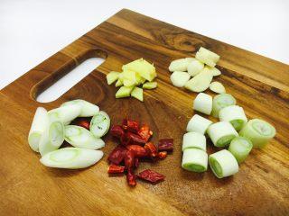宫保鸡丁,大葱一部分切象眼片,一部分切段,干辣椒切段,姜切片,蒜切片。