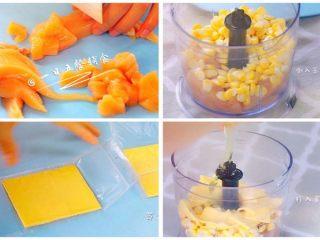 鸡肉玉米芝士肠 宝宝营养辅食,芝士+蛋清,鸡胸肉洗净切块,鸡肉、玉米、芝士、蛋清一起打成鸡肉玉米芝士泥。 🌻小贴士:如果孩子可以吃整粒的玉米,就不要将玉米打碎