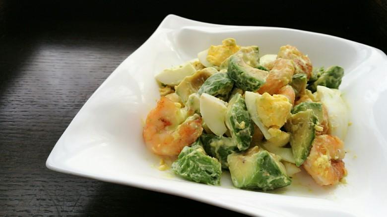 芥末牛油果大虾鸡蛋沙拉