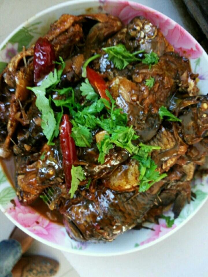 酱炖鲤鱼,盛完鱼时,在上面放点香菜,这样一道好吃的酱鲫鱼🐠就做好了,香气扑鼻。想吃的赶快动手做吧。