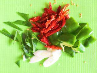 豆瓣鸡 中餐厅版,青椒切块,大葱切片,辣椒斜切开,这样辣椒为了翻炒时更辣一些