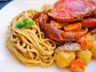 咖喱蟹意面,近看