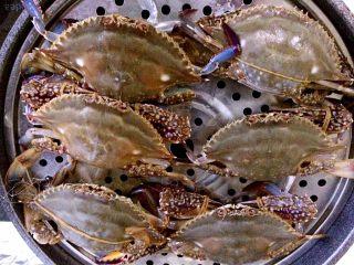 清蒸海飞蟹,排队,按照大小个排队😄码放蒸锅中