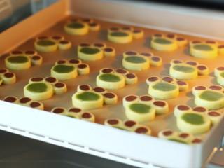 #曲奇菜谱秀#猫爪曲奇,烤箱上下火160度预热,将烤盘放入中层烤12分钟左右