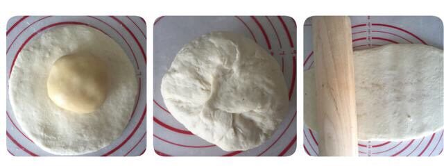 好吃酥脆的红糖烧饼,把油酥放进面皮里,包好,擀面杖擀成长方形