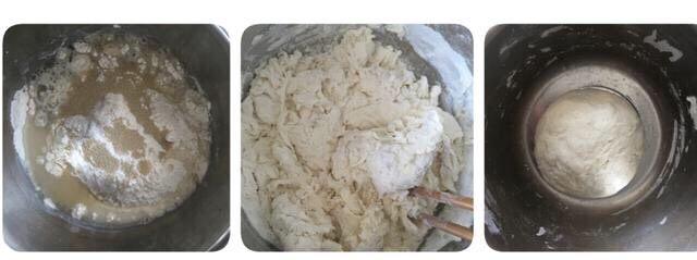 好吃酥脆的红糖烧饼,把面皮材料混合,用筷子搅成絮状,然后用手捏成团,因为天气较冷,所以放置烤箱发酵至两倍大。