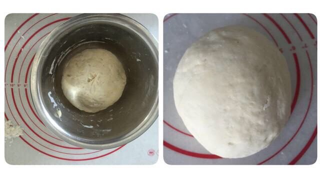好吃酥脆的红糖烧饼,发酵好的面团转移到操作台,揉至光滑。