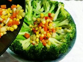 田园西兰花小炒,将炒好的蔬菜粒倒在西兰花茎上