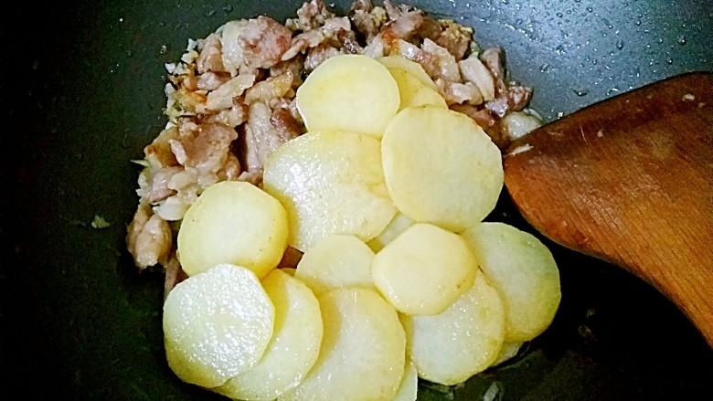 香辣土豆片,倒入土豆片炒均匀
