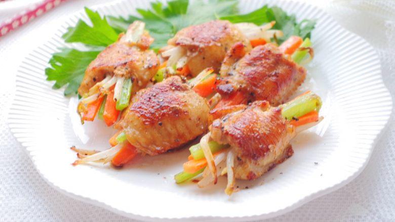 百变鸡翅新吃法-彩色时蔬煎鸡翅