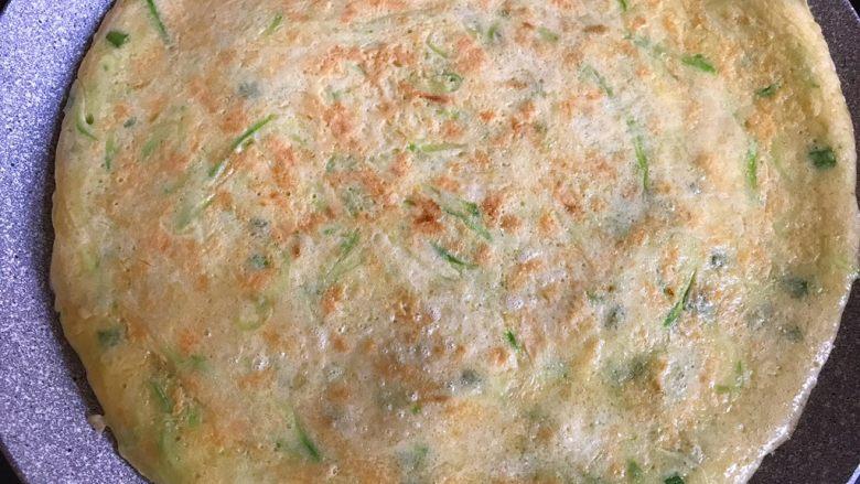 西葫芦鸡蛋饼,两面煎熟后即可