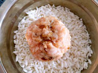 糯米丸子,揉好后放入装糯米的碗中。