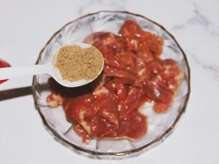 铁板黑椒牛柳,再放入一勺黑胡椒粉