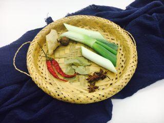 #咸味#  酱烧大骨头(猪骨头),辅助食材:葱、姜、八角、香叶、草果、干辣椒。