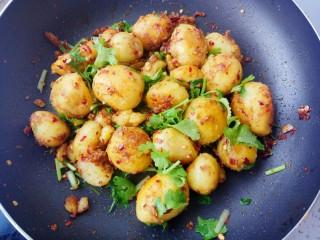 蒜香味的孜然香辣小土豆,最后放入盐味精和香菜拌匀