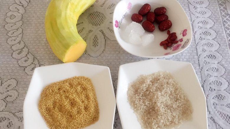 小米南瓜红枣粥,准备好食材。