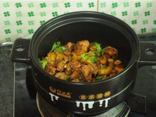 板栗烧鸡,撒入香菜段