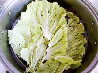 白菜羊肉馅蒸饺,置蒸锅,铺上白菜叶