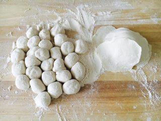 #咸味# 西葫芦羊肉水饺,取一块面团先搓成长条,然后揪成小圆剂子,压平小圆剂子,擀成饺子皮。