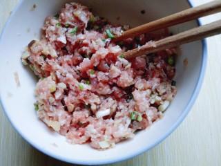 #咸味#紫菜虾皮鲜肉小馄饨,葱去皮切葱花,加入肉糜中,用筷子搅拌均匀,无需搅上筋。