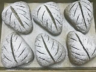 红糖黑芝麻叶子软欧,割好所有面包胚,放入预热好的烤箱中层,上火200度下火170度烤约20分钟左右即好。