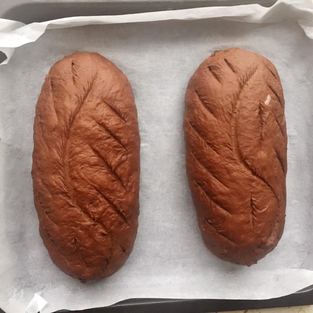 可可麻薯软欧包,放室温发酵大约1小时30分钟左右</p> <p>发酵到原来大小的2倍左右</p> <p>用锋利的刀片割出花纹
