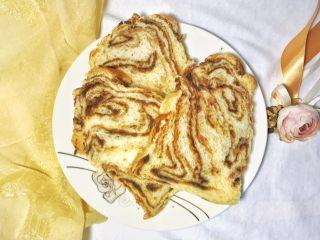 椰香浓郁的大理石豆沙吐司(一次性发酵),大理石般的纹理组织