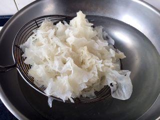 绿色美食+西葫芦木耳银耳炒鸡蛋,再把洗净的银耳放在锅里焯熟,捞出晾凉。