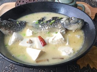 浓汤鲫鱼炖豆腐,鱼肉肉质细嫩,鱼汤鲜美