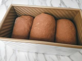 巧克力奶油吐司,烤箱放热水,放入吐司盒,二次发酵至面团到吐司盒的8~9分满。