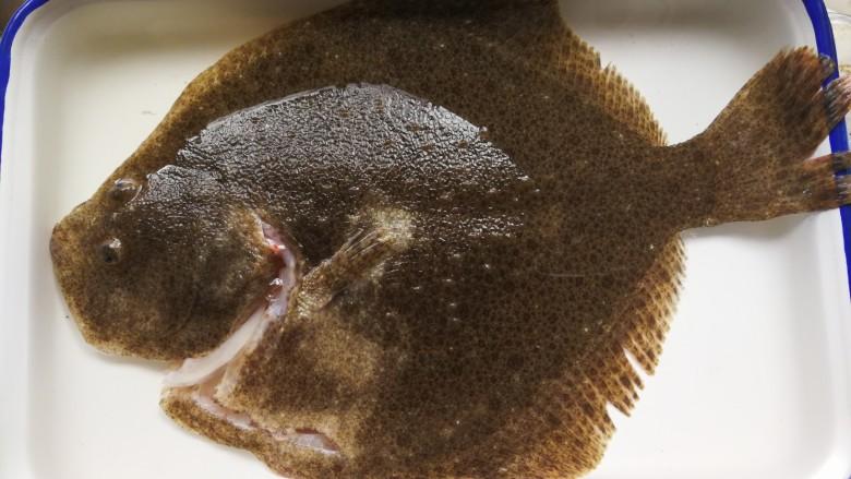 清蒸多宝鱼,多宝鱼让鱼贩帮忙宰杀后去肠和鱼鳃洗净,水中浸泡一会儿,去血水。