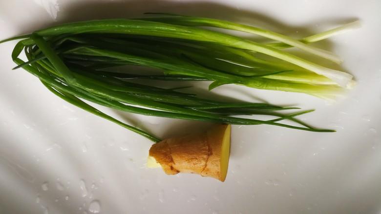清蒸多宝鱼,葱姜洗净