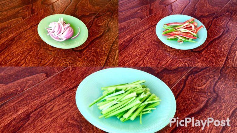 爆炒素鳝丝,芹菜、洋葱、青红椒切丝