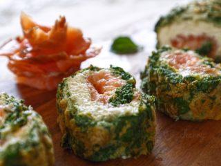 三文鱼奶酪菠菜蛋卷,成品图