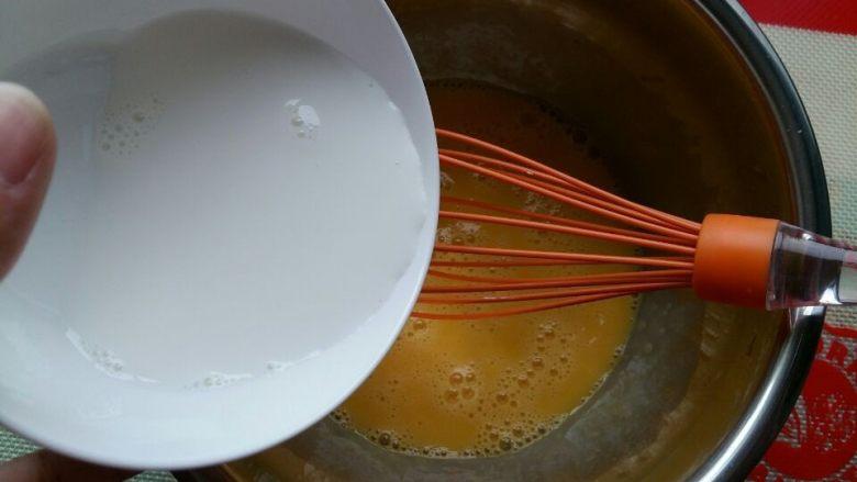 入口即化的棉花蛋糕, 把<a style='color:red;display:inline-block;' href='/shicai/ 219'>牛奶</a>分次加入蛋黄中,每次搅拌均匀再加