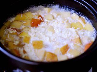 一碗汤+苹果百合酒酿蛋花羹,大火烧开后、看见鸡蛋液成块状后