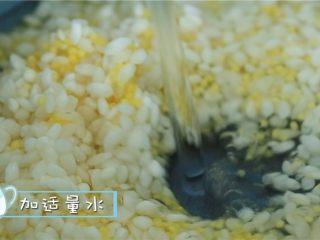 菌菇双米粥,泡涨后放入奶锅中,一次性加入足量的水,大火煮开后转小火慢煮2小时。 ps:在煮粥的时候我们可以准备其他食材咯~