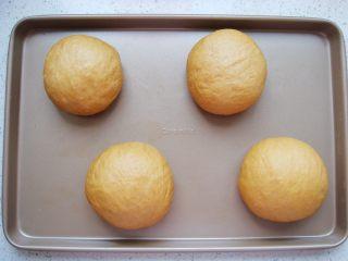 葡萄干红糖软欧,封口向下放,整理成圆形。依次做好放入烤盘中。
