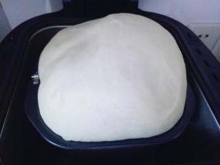 原味吐司,发酵好的面团,时间为90分钟。已经满桶,可以用手指捅一下,不回缩即为发酵完成。
